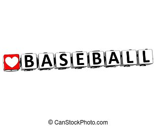 3D I Love Baseball Game Button Block text on white...