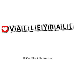 3D I Love Valleyball Game Button Block text on white...
