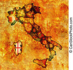 map of italy with sardinia region - sardinia region on...