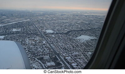 Toronto winter approach. 2 of 2. - Commercial jet flying...