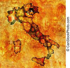 map of italy with veneto region - veneto region on...