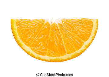 slice of orange - front view of orange slice isolated on...