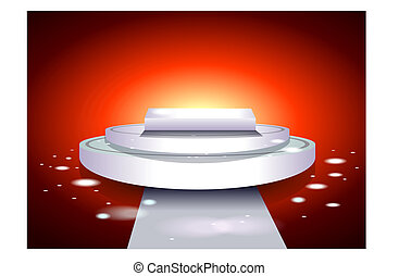 Glowing white podium