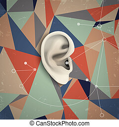Futuristic grunge background with ear Vector illustration