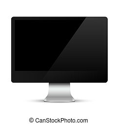 Modern computer monitor with black screen
