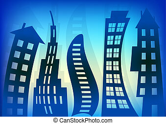 Abstract Blue Houses Background Wallpaper