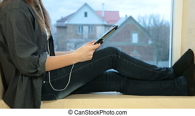 Girl With Digital Tablet - Teen Girl Using Digital Tablet At...