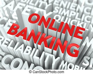 Online Banking Concept The Word of Red Color Located over...