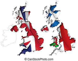 UK Flag-Map Inner Shadow - UK map cut-out, highly detailed...