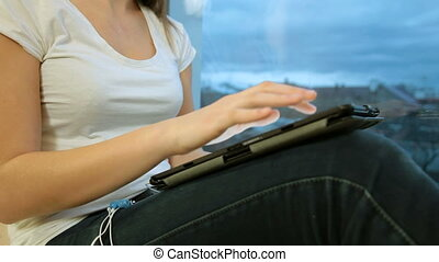 Girl Using Digital Tablet - Teen Girl Using Digital Tablet...
