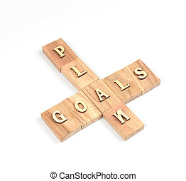 Goal plan - The goal and plan word on white background