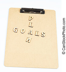 Goal plan - goal and plan word on the folder