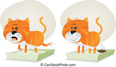 Cat Litter, Before And After - Illustration of a funny...
