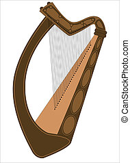 Irish Harp - A traditional Irish harp isolated on a white...
