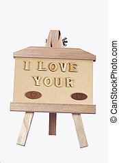 Message of love - Wood carving, I love you
