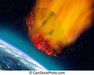 Plummeting asteroid - Illustration of a huge asteroid...