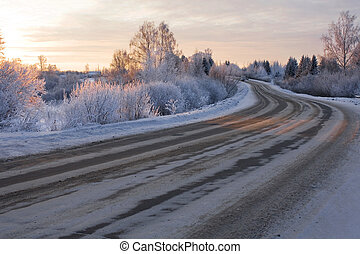 Winter road - winter landscape with the road