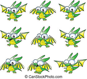baby green dragon in many emotions; sad, happy, cry, angry