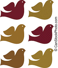Retro dove set isolated on white ( brown )