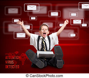 Digital concept - Little boy in business suit screaming and...