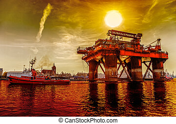 Towing Oil Rig - Oil rig in the dramatic scenery.