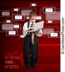 Email concept - Concept of virus detected and software...