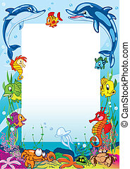 Frame with various sea animals - The illustration shows the...