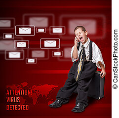 Digital concept - Little boy in business suit screaming