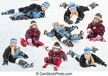 Winter time - Collection of little boy and girl having fun...