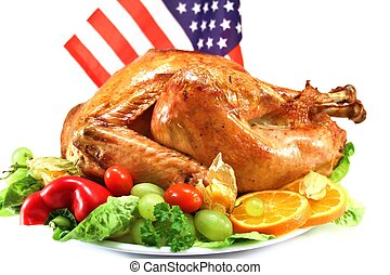 Turkey for Independence Day - roast turkey with US-flag for...