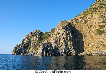 rocky shores of the Mediterranean in the summer