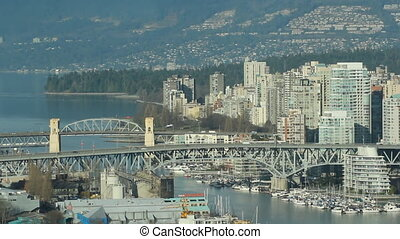 Vancouver bridges - View of downtown Vancouver with view of...