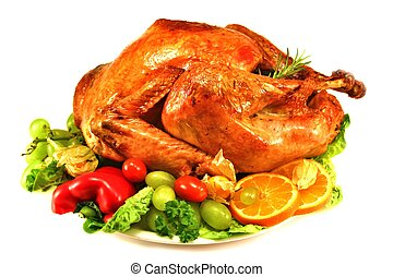Roast turkey on salad with white background