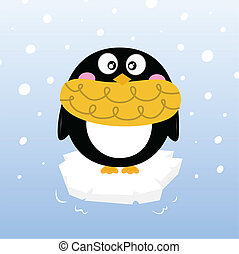 Cute winter penguin on sparkling iceberg - Cartoon winter...
