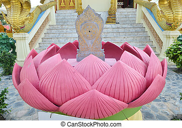 Boundary marker in Lotus Leaf at Wat Muang,Thailand