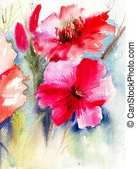 Colorful Red flowers, watercolor painting
