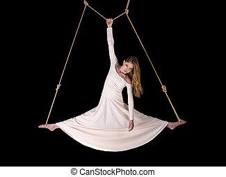 mulher, ginasta, jovem, corda, branca, Vestido
