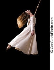 jovem, mulher, ginasta, branca, Vestido, corda