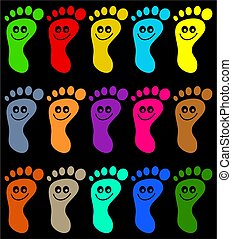 colourful feet - abstract colourful happy feet background...