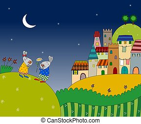 Two rabbits on the night landscape - Colorful graphic...