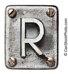 Metal letter - Old metal alphabet letter R