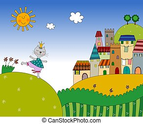 Little cat on the country landscape - Colorful graphic...