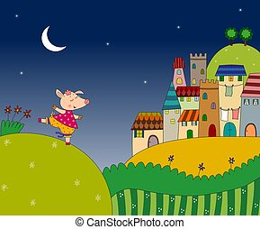 Little pig on the night landscape