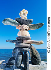 Ensemble - Statuette from the pebbles on the sea shore