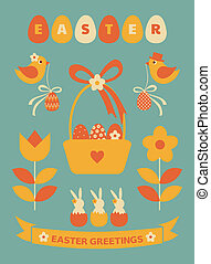 Easter Design Elements - A set of cute Easter design...