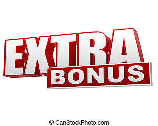 extra bonus red white banner - letters and block - extra...