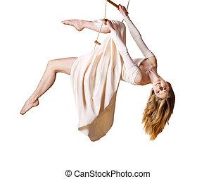 joven, mujer, gimnasta, Soga - escalera de mano