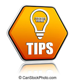 tips and bulb symbol in orange hexagon banner - tips and...