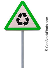 Go Green - A road sign on recycling isolated on white