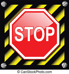 Stop sign over warning stripes background
